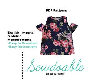 Cold Shoulder Top PDF Pattern 18/24M - 7/8Y