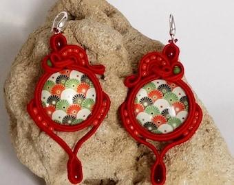 Soutache Earrings OhrsteckerBoho Jewelry beads Chandeliers earrings beads Beads Handmade Jewelry