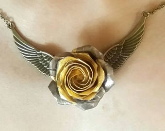 Origami Rose Necklace, Origami Jewelry, Origami Flower Necklace, Paper, Anniversary,Washi Paper