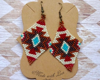 Handcrafted Native American Seed Bead Earrings