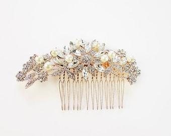JULIE Bridal Hair Comb, Rose Gold Hair Comb, Rose Gold Bridal Headpiece, Rose Gold Hair Accessory