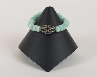 Pave diamond and aventurine bracelet