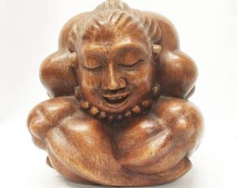 Blissful Yogi, Hand-crafted of Native Suar Wood in Mas, Bali, Indonesia