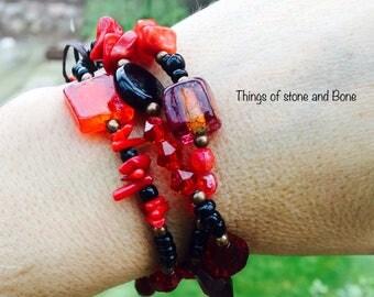 Red multi-strands bracelet
