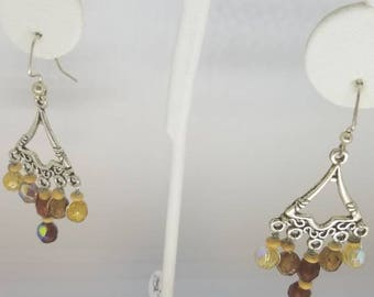 Earthtone glass bead chandelier earrings