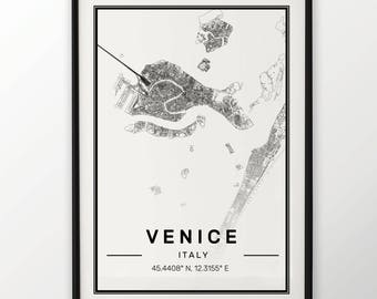 Venice City Map Print Modern Contemporary poster in sizes 50x70 fit for Ikea frame 19.5 x 27.5 All city available London, New York Paris