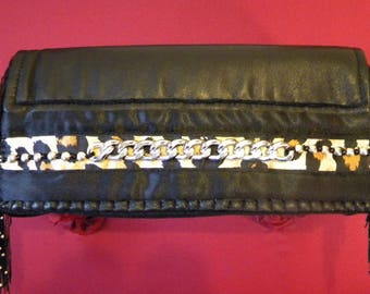 Leather and leopard satin clutch chain and beads
