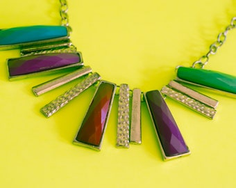 Vintage Diamond Cut Necklace Red / Purple / Blue / Green