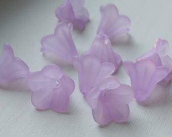 Lucite Flower Beads, Medium Lily, Matte Pale Violet, 10