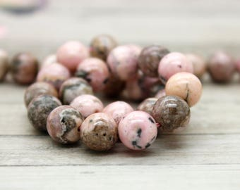 Natural Rhodochrosite Smooth Round Gemstone Beads - Full Strand