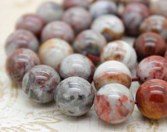 Red Tiger Tiger's Eye Jasper Smooth Round Sphere Gemstone Beads