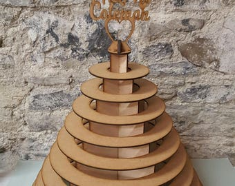 Plain Round Wooden Ferrero Rocher Chocolate Tower Stand for Weddings