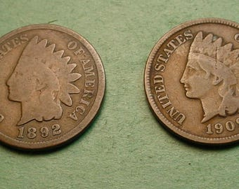 Indian Head Cent (2 pcs) 1892 and 1907 Both Nice<> FREE SH to United States<> # ET3435