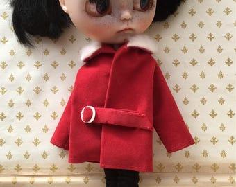 Blythe/Pullip Dolls Coat 1960's, Belted, Truly Vintage Coat For Blythe ' Ruby Tuesday '