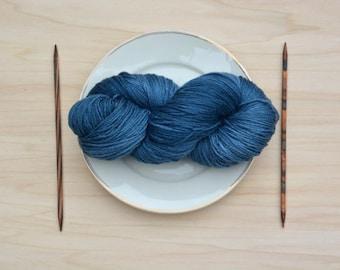 Wool, silk, yarn, blue, yarn, knit Merino, four threads, crochet, handicrafts, hand-dyed