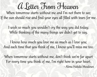 Bereavement svg - A Letter From Heaven - Mourning svg - Sympathy svg  - Grief svg - Funeral svg (SVG, PDF, Digital File Vector Graphic)