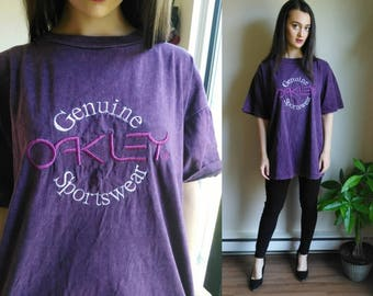 Oakley / Gifts for Men / Oversized Tee Shirt / Graphic Tee / Womens Graphic Tee / 90s Grunge / Grunge Clothing / Acid Wash / Vintage Logo