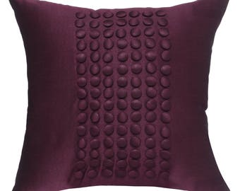 Plum Pillow Cover, Minimalist Pillow, Solid Plum Throw Pillow Cover, Button Panel