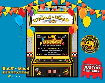 Pacman Invitation, Pacman Birthday, Pacman Party, Pac-man Game Invitation, Pac-Man Invite