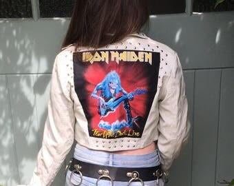 Iron Maiden White Studded Faux Leather Battle Jacket Ladies