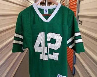 New Year SALE 15% Off RARE Vintage 80's New York Jets Ronnie Lott/Fireman Ed Football Jersey By Logo 7. Men's Size Large.
