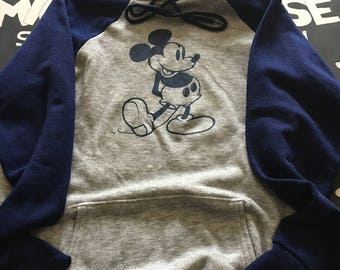 WDW Disney Casuals Vintage 80's Two-Tone Mickey Mouse Long Sleeve Hoodie XL