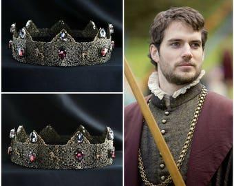 Purple Medieval Times, Medieval Crown, Custom Wedding Crown, Male Headpiece, Renaissance Wedding, Tudor, Design Your Own Crown