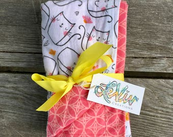 Kitty print flannel blanket for baby or child, cat lover gift for baby, soft cuddly blanket, peach and pink and white, simple cat print