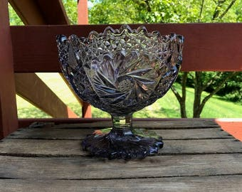 Antique American Cut Glass Swirling Cosmic Star Compote with Pedestal & Sawtooth Edge in Amethyst