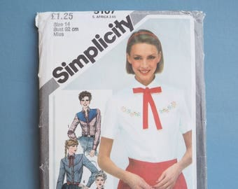 Simplicity 5107 retro vintage sewing pattern 1980's embroidered blouse wild west, cowboy, cowgirl shirt, Size 14 bust 92 cm