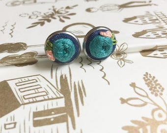 Earrings Boho gift for her Hand Embroidered Earrings Embroidery Jewelry Flower Statement Earrings bridesmaid gift idea Vintage Style