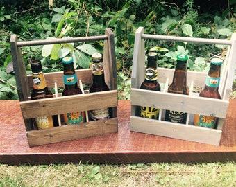 Ristic Wood Beer Caddy Beer Tote Beer Carrier!  Man Cave Groomsmen Gift.