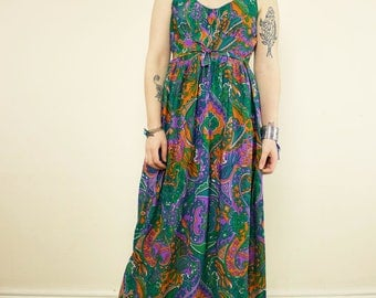 Vintage Green, Purple & Orange Paisley 70's Hippie Maxi Dress