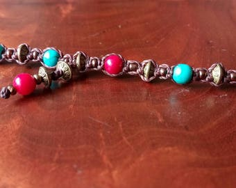 """Anklets pirate jewelry """"BluePearl"""" Turquoise coral foot Ribbon, pirates of the carribean jewelery"""