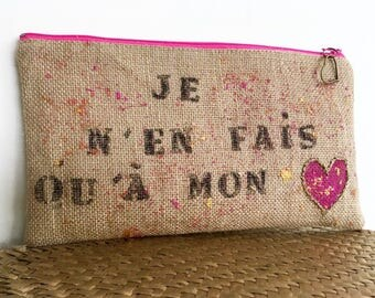 Pouch / clutch / bag / sack burlap painted and embroidered by hand.