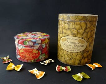 Two french candy tin box. Humbugs Raquillet Chabas tin boxes. Milk cans Carpentras. Vintage tin boxes. Sweets boxes collection