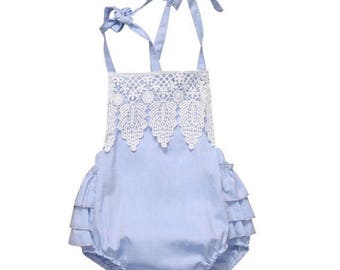 Blue Infant Lace Romper