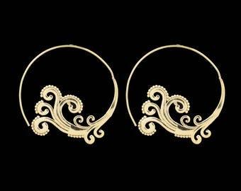 Spiral Earrings, Brass Earrings, Gold Earrings, Boho Earrings, Tribal Jewellery, Ethnic Jewellery, Brass Jewellery, Spiral Women Earrings