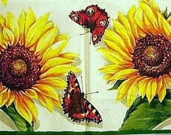 Sunflower and Butterfly paper napkin