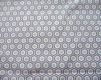 Fabric cotton blue and green geometric patterns