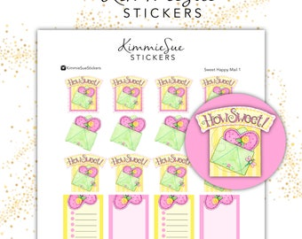 Printable Planner Stickers | Happy Mail | Mail | Functional Kit | TN Stickers | Erin Condren Planner | PDF Trace Files | Stickers Printable