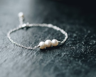 Ivory 'Trio' Bracelet. Handmade. Wire wrapped. Freshwater Pearls. Sterling Silver delicate chain. Bespoke. Minimal. Elegant. Purity. Wisdom