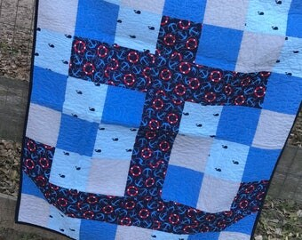 Handmade baby quilt, Boy blanket, boy quilt, Nautical quilt, anchor quilt, anchor blanket, nautical blanket, free shipping