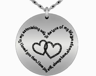 Wife necklace,To my astonishing wife, to the love of my life, loved you then, love you still, always have, always will. stainless steel