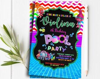 Trolls invitations, Trolls Birthday Invitation, Trolls Party,Troll Party Ideas, Trolls Birthday Party Card, Trolls invite, Trolls pool party