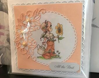 Handmade floral all the best birthday card