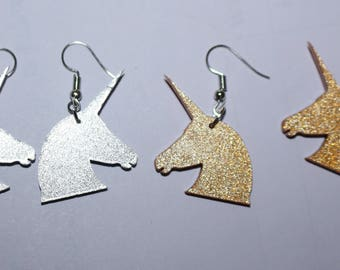 Unicorn earrings - sparkly