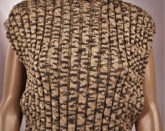 Women sweater, sweater vest pullover poncho, Brown sweater, twisted, sweater, pullover, sweater handmade 0118