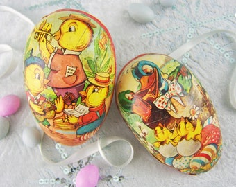 Vintage West German Paper Mache Easter Egg Candy Container