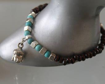 Women bracelet. Buddha bracelet. .bracelet silver charm bracelet Buddhist - elastic bracelet - Silver Blue .marron wooden bracelet